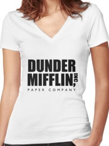 Dunder Mifflin Paper Company  Women's Fitted V-Neck T-Shirt