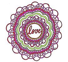 Zentangle Mandala Love Red & Green Photographic Print