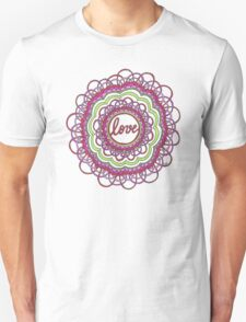 Zentangle Mandala Love Red & Green Unisex T-Shirt