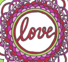 Zentangle Mandala Love Red & Green Sticker