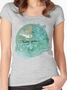 Greenwitch over Trewissick Harbour Women's Fitted Scoop T-Shirt