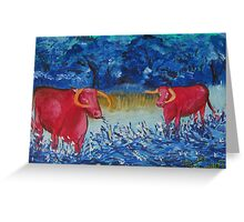 Pink Cows  Greeting Card