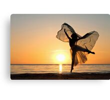 Ballet dancer's silhouette as a butterfly  Canvas Print