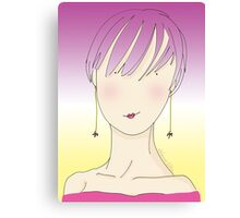 Girl With Long Earrings Canvas Print