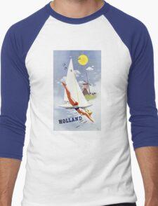 Holland Vintage Travel Poster Restored Men's Baseball ¾ T-Shirt