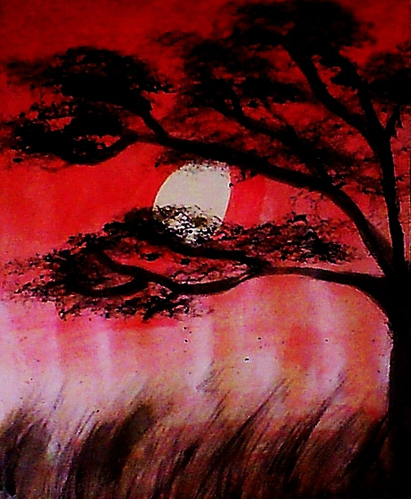 Moon shining thru the tree, watercolor by Anna  Lewis, blind artist