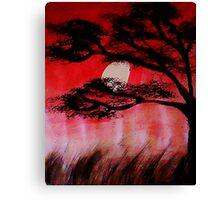 Moon shining thru the tree, watercolor Canvas Print