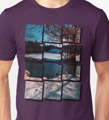 River across winter wonderland | landscape photography Unisex T-Shirt