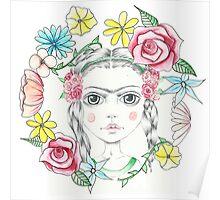Floral Young Frida Kahlo Poster