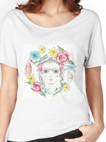 Floral Young Frida Kahlo Women's Relaxed Fit T-Shirt
