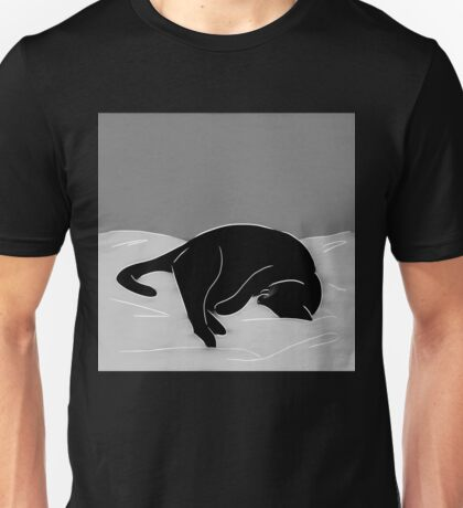 Sleeping Cat in Grey Unisex T-Shirt
