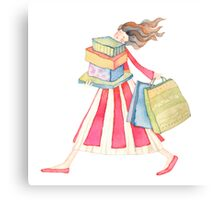 "Girl shopping ,illustration of the story ""backpack"" Canvas Print"