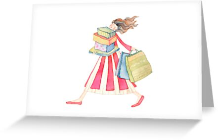 """Girl shopping ,illustration of the story """"backpack"""" by vimasi"""
