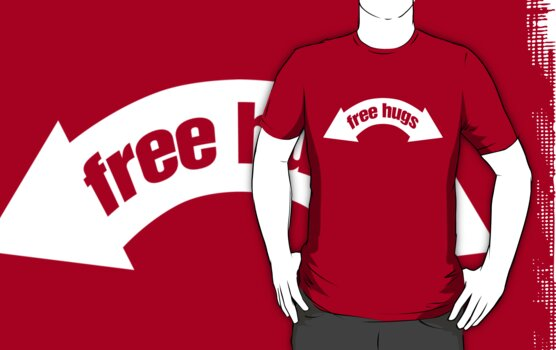 Free Hugs (Insert Arms Here) - White Graphic by Steve Hryniuk