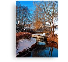 Bridge and river in winter scenery | architectural photography Canvas Print