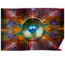 Music speaker on a colourful background Poster