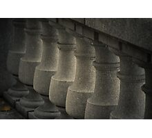 a marble railing that reminds of chess pawns Photographic Print