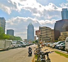 The Batman Building Overshadows Farmers Market - Austin Texas by Jack McCabe