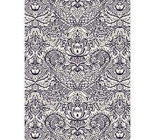 Natural Rhythm 2 - a hand drawn pattern in charcoal & cream Photographic Print