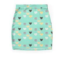 Kitties - Aquamint Mini Skirt