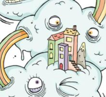 Strange but quirky rainbow cloud design Sticker