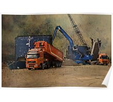 Cranes and Boats and Trucks Poster