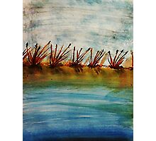 Sand bar at dawn, watercolor Photographic Print