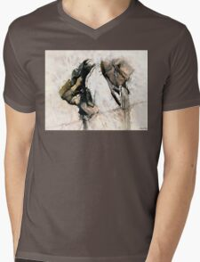 Weathered Leather Mens V-Neck T-Shirt