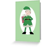 Boy Elf in Green Greeting Card