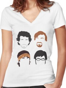 Flight of the Conchords Silly-ettes: 4-up Women's Fitted V-Neck T-Shirt