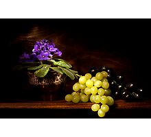 Violet and Grapes still life Photographic Print