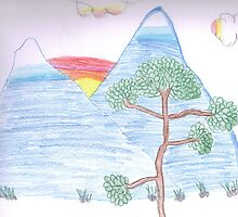 Tree with Blue Mountains and Sunset by petejsmith