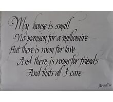 Commissioned calligraphic work Photographic Print