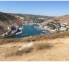 Balaclava, Sevastopol, Crimea, Russia, harbour from mountain top.  by roggcar