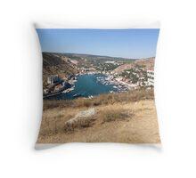 Balaclava, Sevastopol, Crimea, Russia, harbour from mountain top.  Throw Pillow