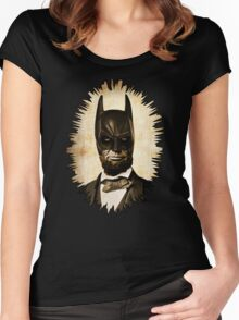 Batman + Abe Lincoln Mashup Women's Fitted Scoop T-Shirt