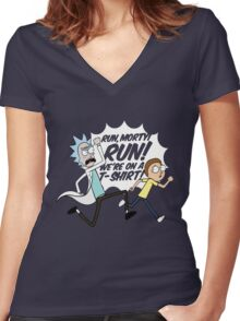 Rick and Morty On A Tshirt Women's Fitted V-Neck T-Shirt
