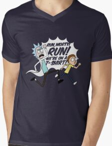 Rick and Morty On A Tshirt Mens V-Neck T-Shirt