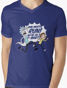 Rick and Morty On A Tshirt Mens V-Neck T-Shirt