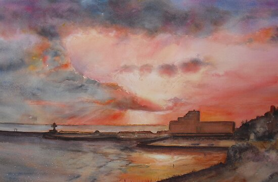 Winter on Folkestone harbour by Beatrice Cloake