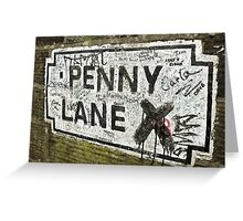 Old Penny Lane Sign Greeting Card