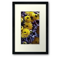 Floral photography: yellow and purple flower arrangement. Framed Print