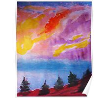Colorful clouds over the pines, watercolor Poster