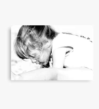 Girl's portrait in black&white Canvas Print