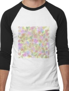 Soft Pastel Mixed Floral Abstract Men's Baseball ¾ T-Shirt