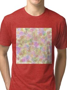 Soft Pastel Mixed Floral Abstract Tri-blend T-Shirt