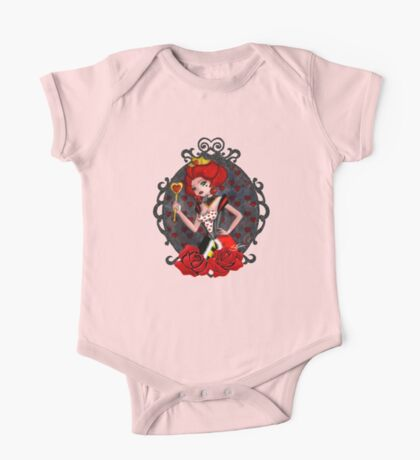 Queen of Hearts - Black Background One Piece - Short Sleeve