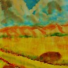 Billowy clouds over the valley, watercolor by Anna  Lewis