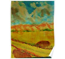 Billowy clouds over the valley, watercolor Poster