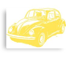 Classic VW Beetle Tee Yellow Ink Canvas Print